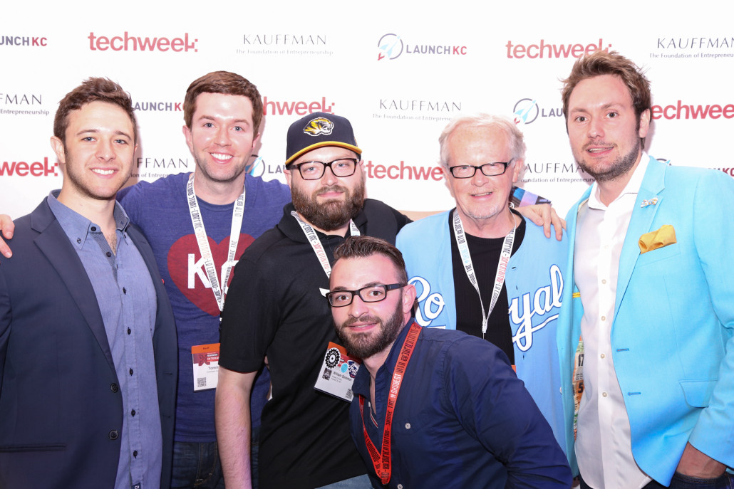 "Members of the LaunchKC-Techweek team celebrate at a national ""launch"" event at SxSW on March 16. From left, Matt Ginsberg of Techweek, Tommy Wilson of LaunchKC and Downtown Council; Drew Solomon of LaunchKC and the EDC; Blake Miller of Think Big Partners; Mike Hurd of LaunchKC and DTC; and Chris Bordeaux of Techweek."